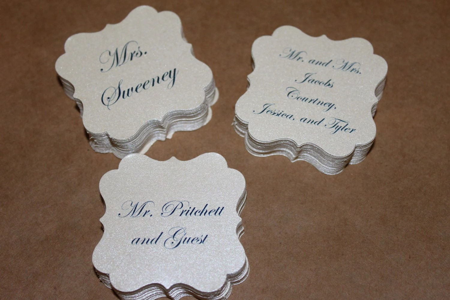 Personalized wedding favor tags inner envelope name for Personalized wedding place cards