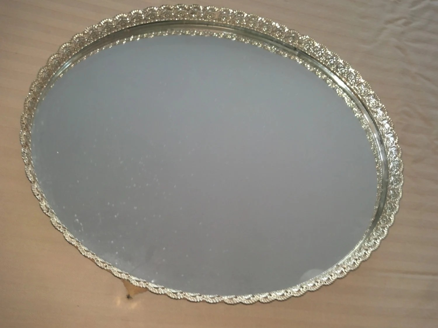 Large Gold Tone Metal Vanity Tray Oval Mirror By CorrinaBella