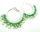 Beaded Green Hoop Earrings - MegansBeadedDesigns