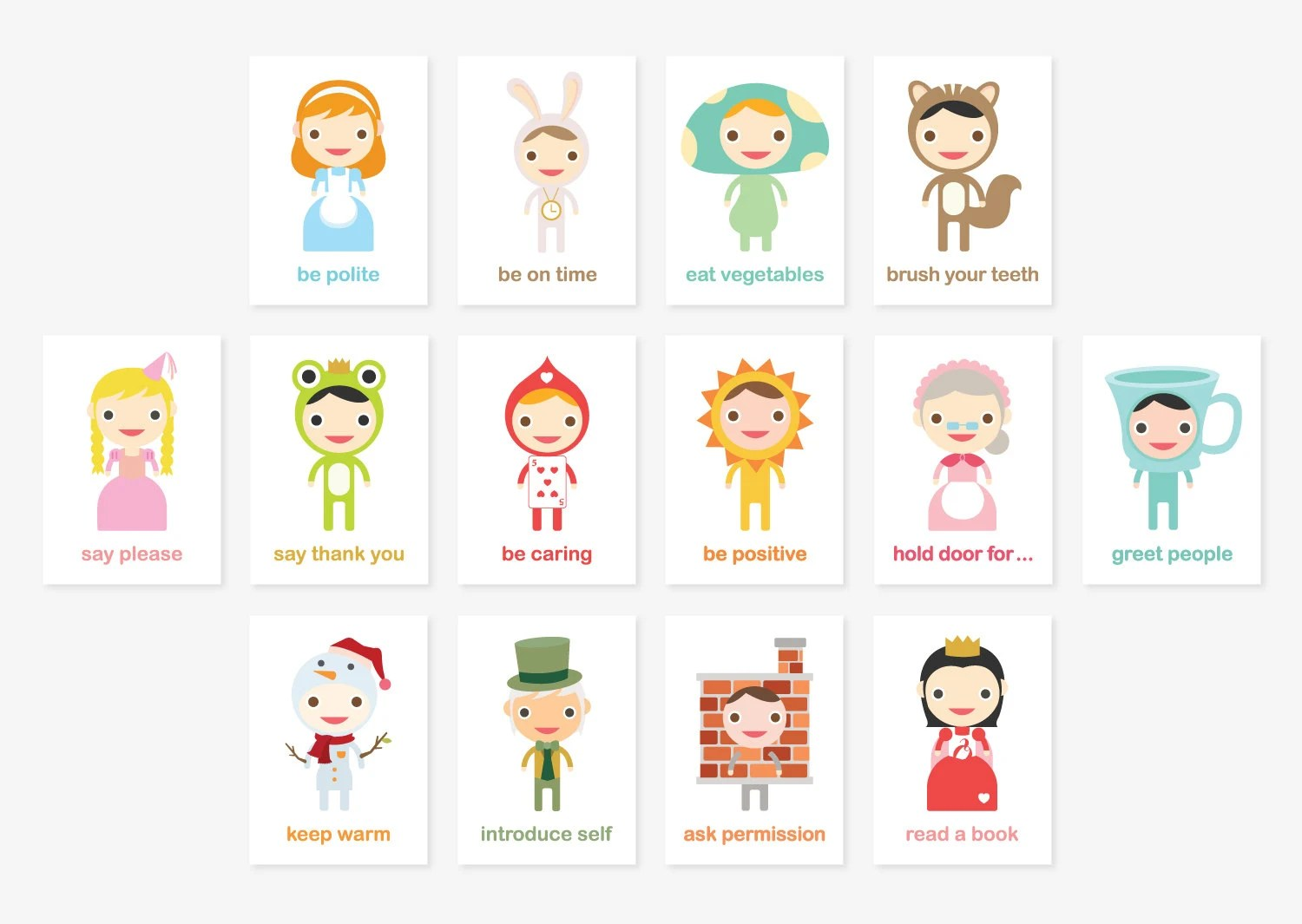 Happy Manners Card Set B Of 14 Good Manners By Tofufustudio