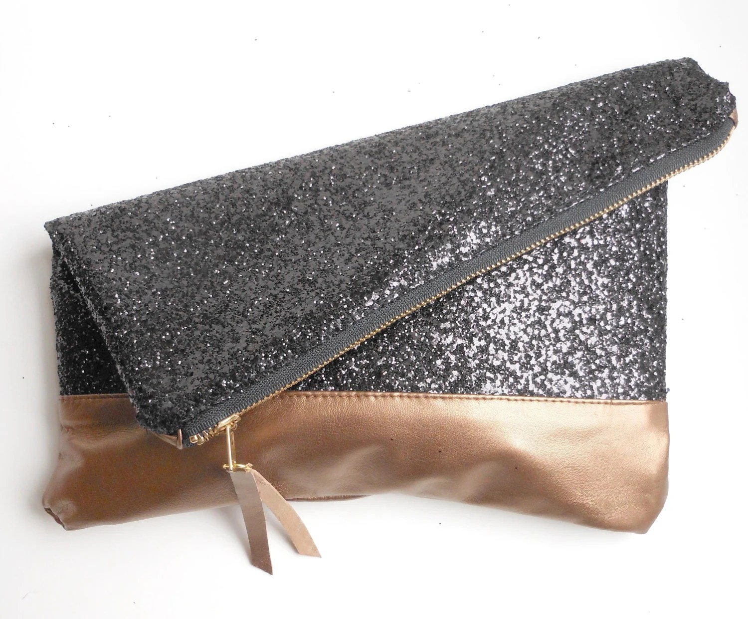 The Windward -  Glitter & Leather - Fold Over Clutch - Black Glitter and Bronze Leather.
