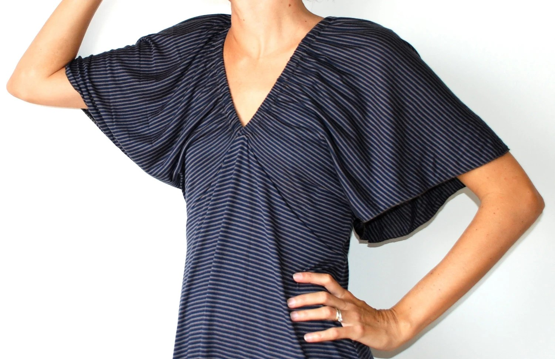 Maxi dress / long party dress in dark blue and mushroom striped jersey. Kimono sleeves. Fall fashion. One size fits many. - MuguetMilan