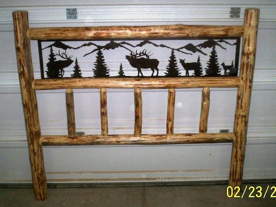 KING Size Rustic IRON Style Pine Log Bed By