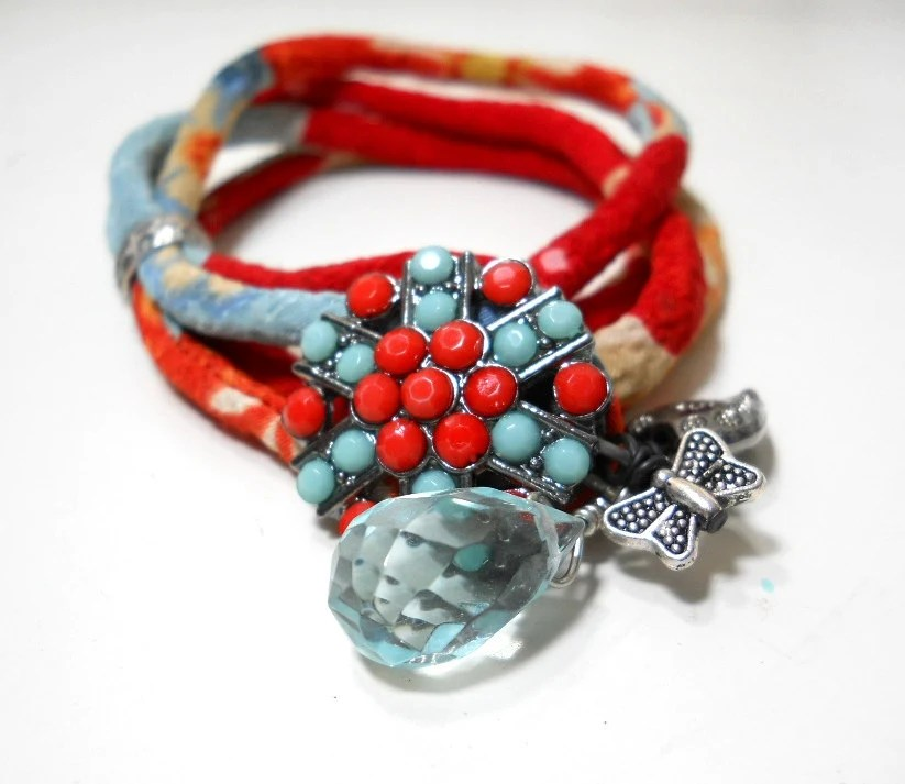 Wrap Bracelet, Turquoise Red Kimono Fabric Wrap Bracelet, Ice Blue Crystal, Butterfly & Heart Charm ,Crystal Button, Chirimen Fabric - ChelseaGirlDesigns