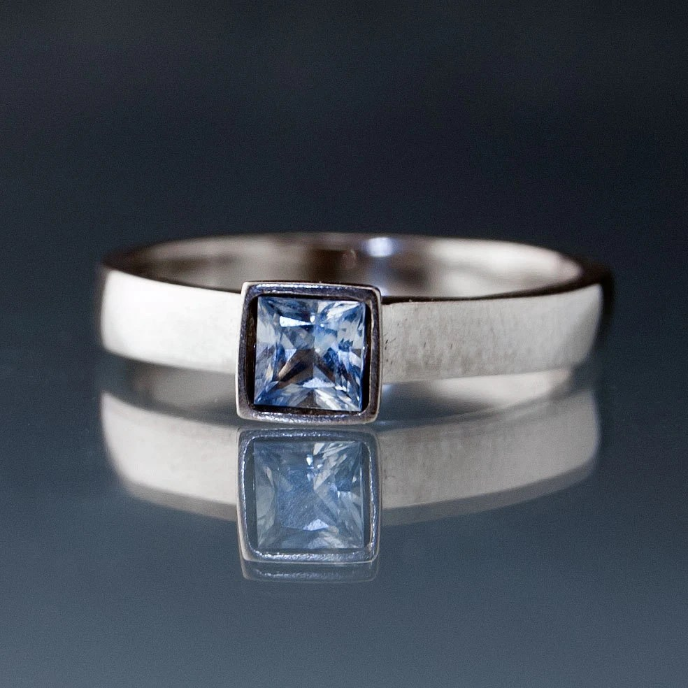 Light Blue Sapphire Engagement Ring Princess By
