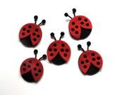 Lady bug, applique, embellishment, pin, felt, black and red - kutz