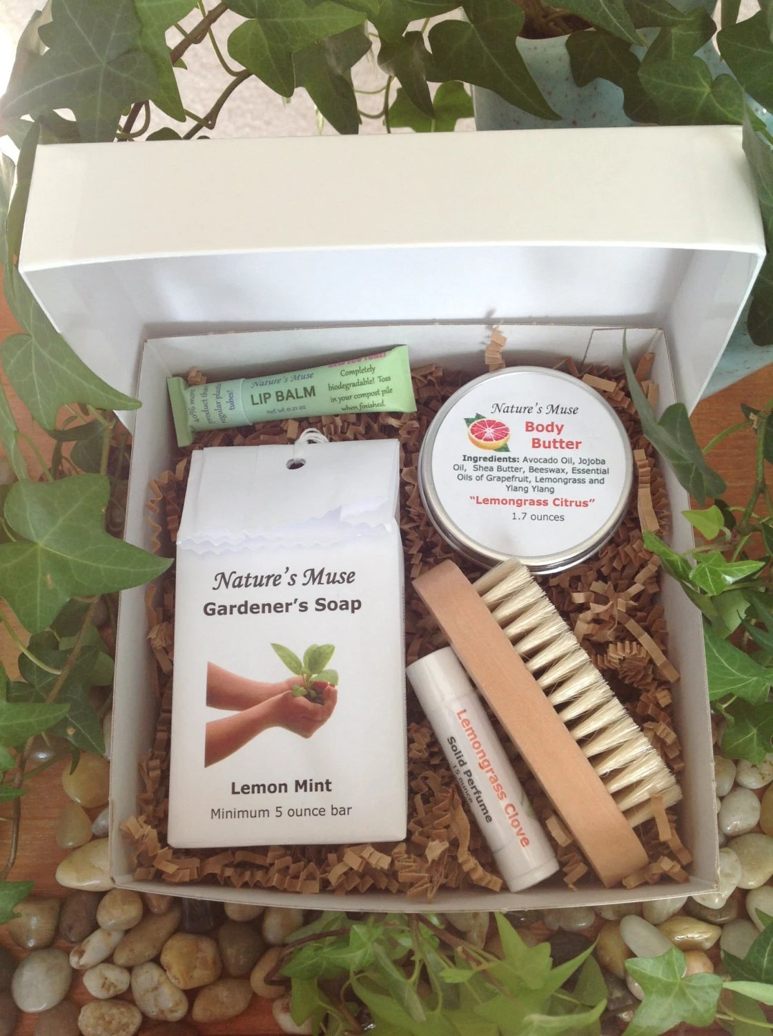 Gardener's Gift Box - Gardener's Soap, Body Butter, Lip Balm in Eco Tube, Solid Perfume and Nail Brush - naturesmuse