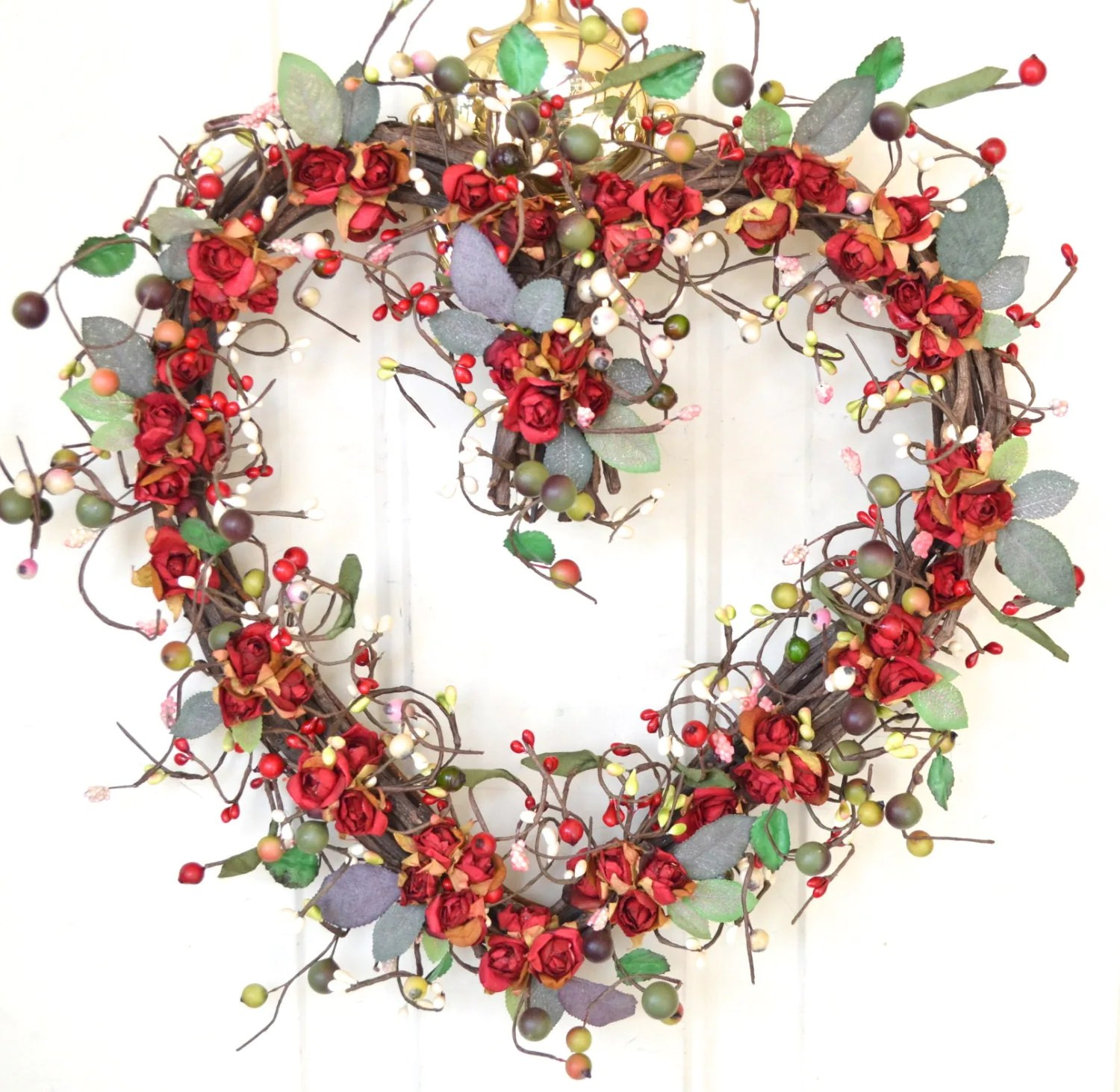 Heart Shaped Wreath Valentines Gift Dried Look Roses