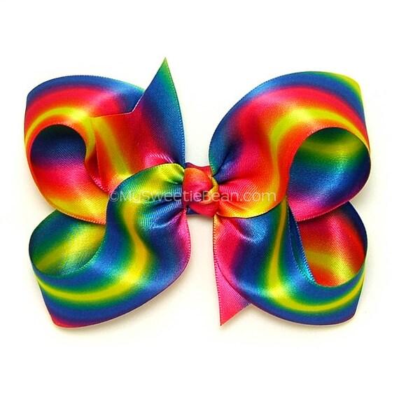 Rainbow Ombre Satin Hair Bow 5 Inch Bow Big Hair Bow For