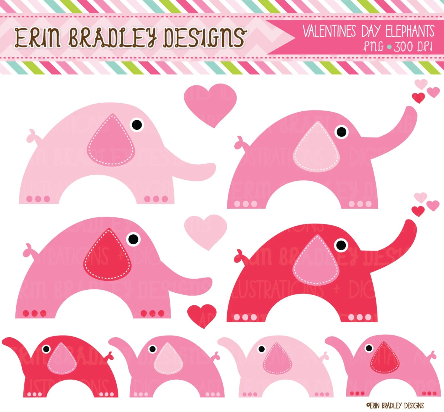 Pink Valentines Day Elephants Clipart Commercial Use Animal Clip Art Graphics