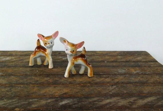 Vintage ceramic deer or fawn figurines, made in Japan, woodland creatures