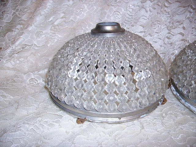 Fabulous Vintage Crystal Beaded Dome Light Fixture Ceiling
