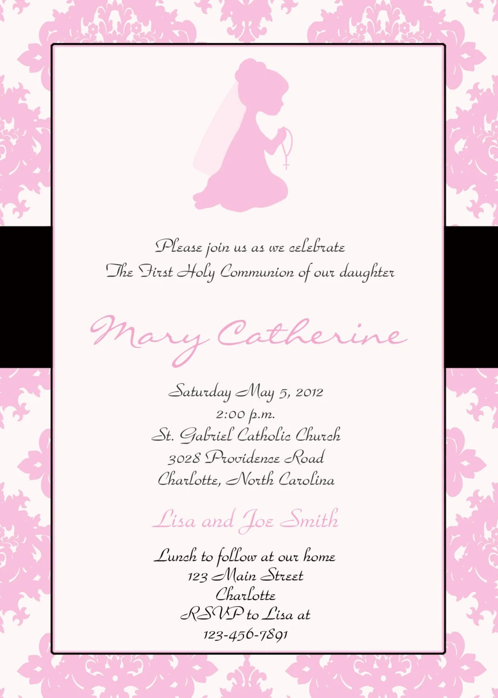 First Holy Communion Invitation Religious Invitation