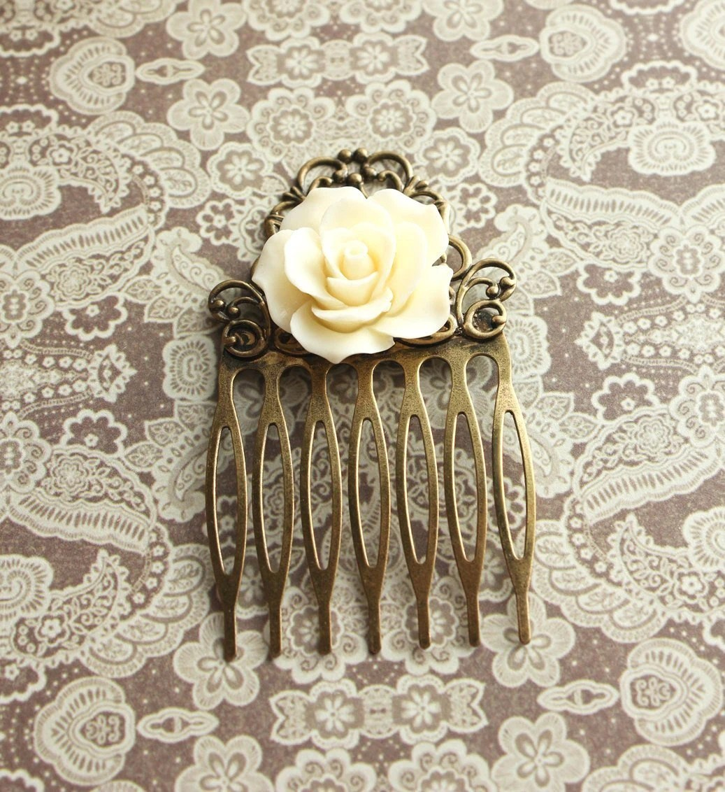 Rose Hair Comb, Hair Accessories, Cream Ivory, Bridal, Romantic Garden Wedding, Antique Brass Filigree, Metal Hair Combs Shabby Chic