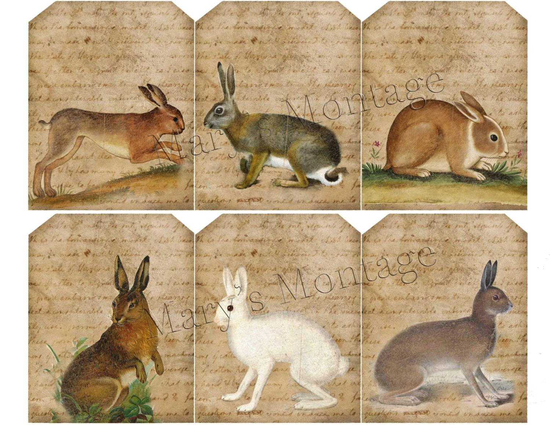 Vintage Bunny Tags Download Print Sheet