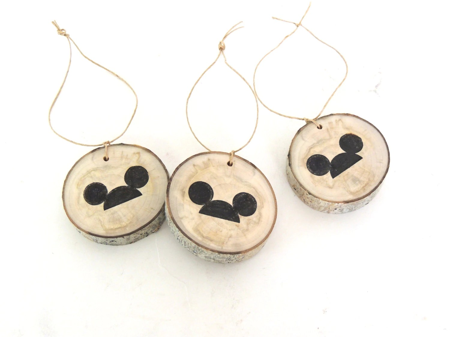 Items Similar To Mickey Mouse Charms, 3 Wood Slice Favors