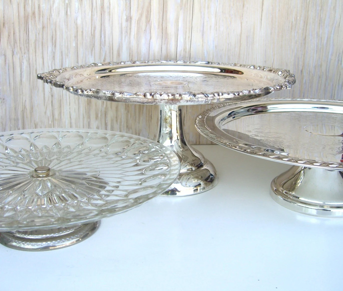 Silver Pedestal Cake Stand Oneida Country French Shabby