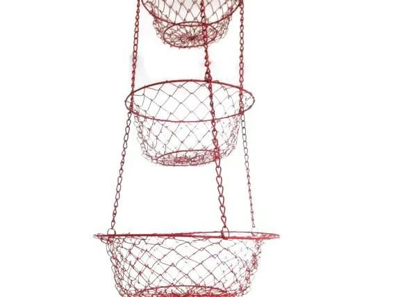 Vintage Hanging Wire Basket Red Metal Mesh Fruit Storage