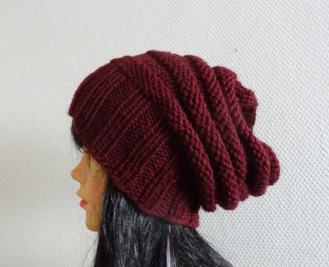 Sacking Winter Hat - Autumn Accessories - Slouchy Beanie  Women Hat  - Oversized Hat - Chunky Knit  - Mens Slouchy - ANY COLOR - Ifonka