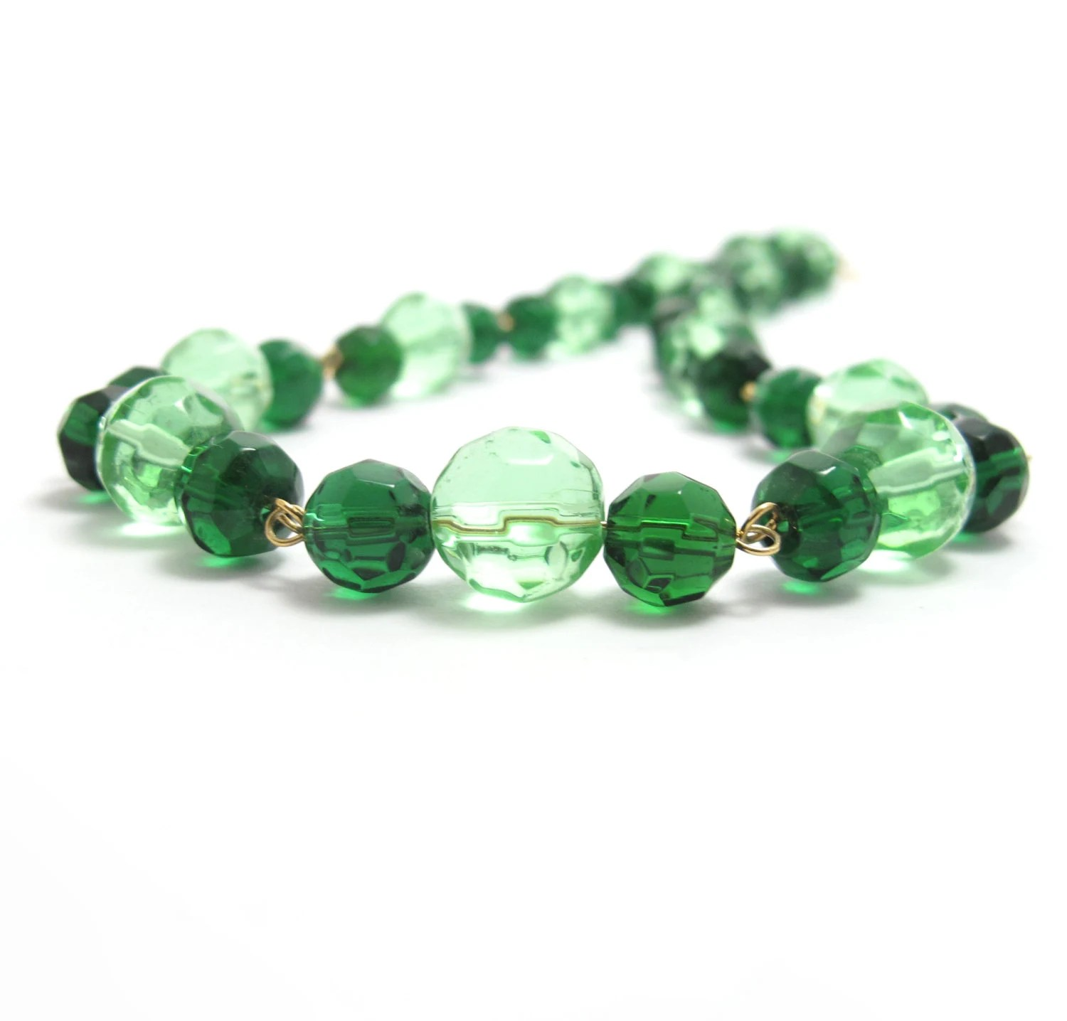 Green Beaded Necklace, Faceted Glass Links - MoonlightShimmer