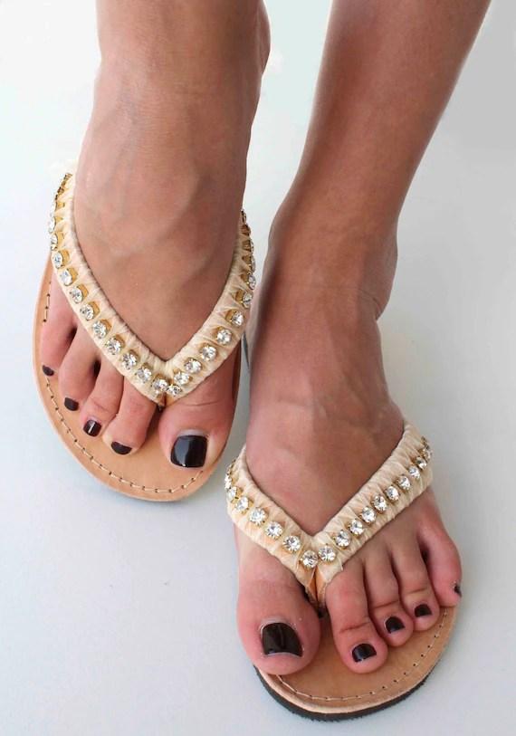 Bridal Leather Sandals - Beige and Swarovski Sandals - Summer shoes