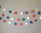 Red, White & Blue Star Garland/Banner, 4th of July Banner,  Wedding Banner, Patriotic Garland - eyepoppingcreations