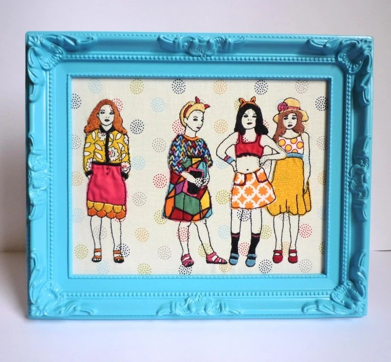 Children's Framed Embroidery Art: 'Besties' by Cheese Before Bedtime