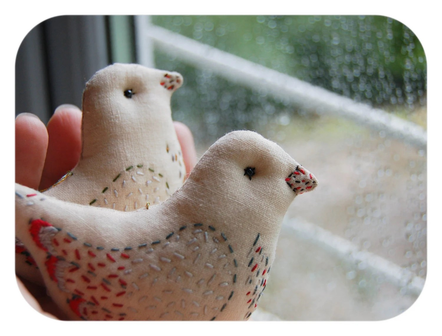 Lovebirds couple in Beige - Birds Hanging ornaments or caketopper - Embroidered Birds decorations