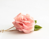 "Pink rose brooch polymer clay flower - ""PINK ROSE""-Polymer clay jewelry, brooch, gift,  rusteam - JewelryFloren"
