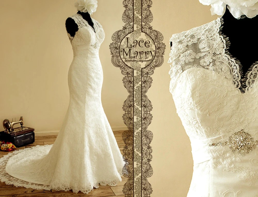 Romantic Lace Wedding Dress With Illusion Style By LaceMarry