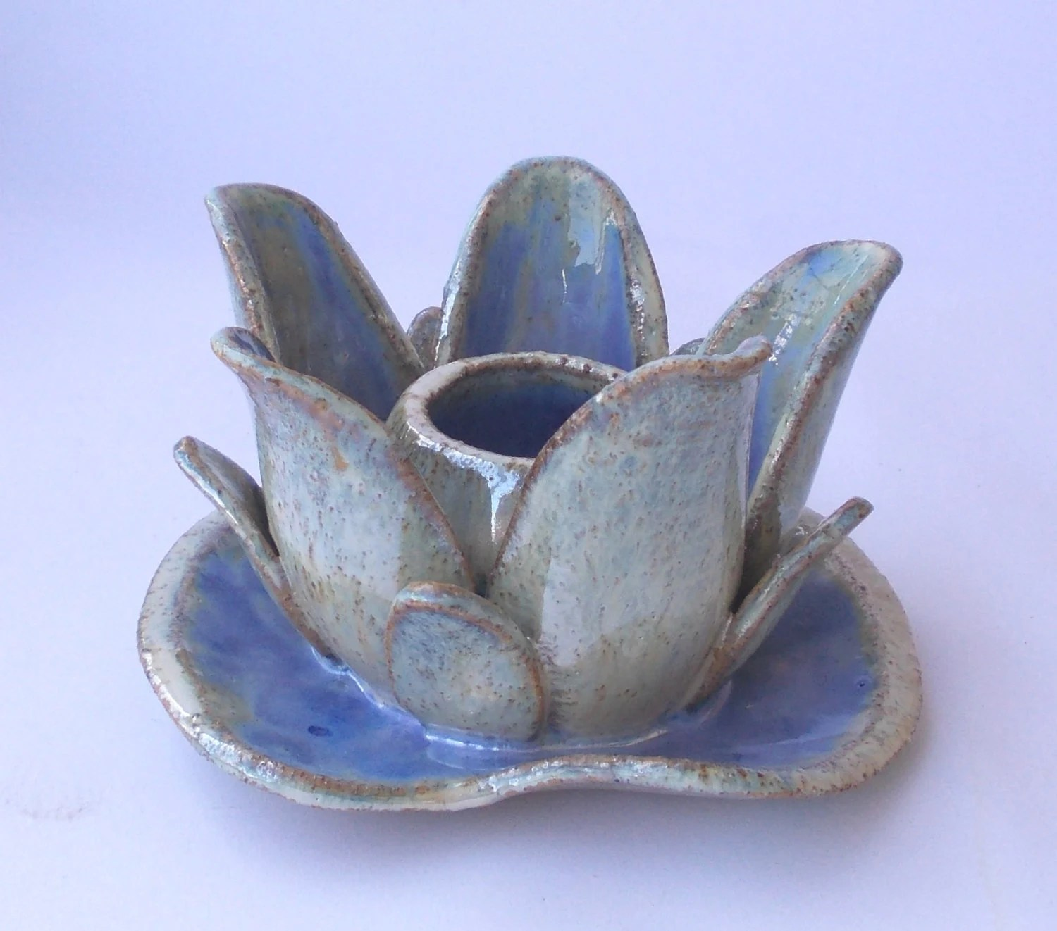 Lotus Flower. Ceramic candle holder like Water Lilies or vase for short flowers. - DeepSilence