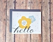 Hello greeting card - Notecard - recycled card - Floral hello card - thinking of you card - PrintSmitten