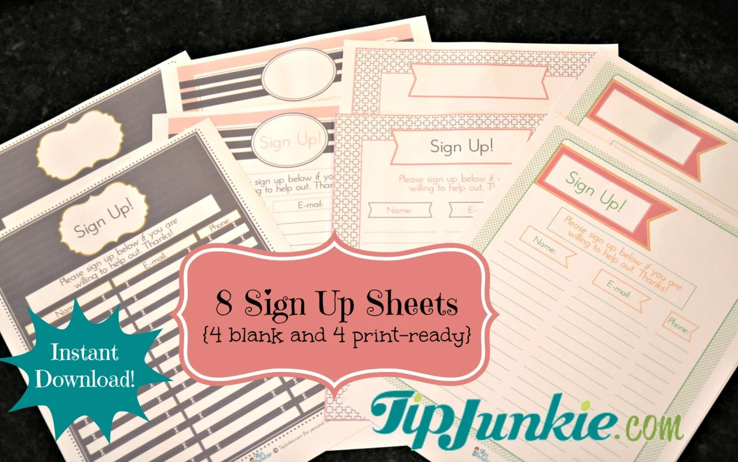 8 Sign Up Sheets Potluck Snack Church Sports School