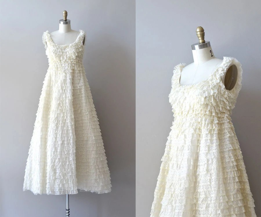 1960s Wedding Dress / Ruffled Lace Wedding Gown / By