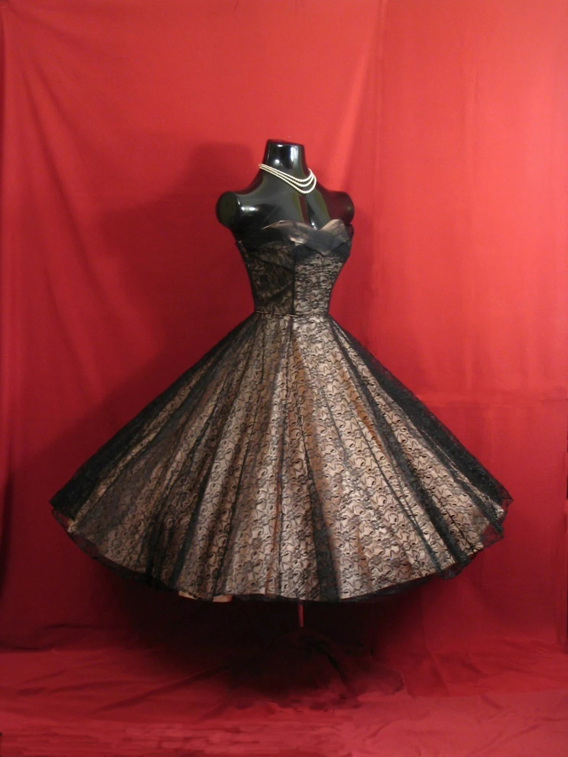 Vintage 1950s 50s STRAPLESS Black Pink Lace Tulle Taffeta