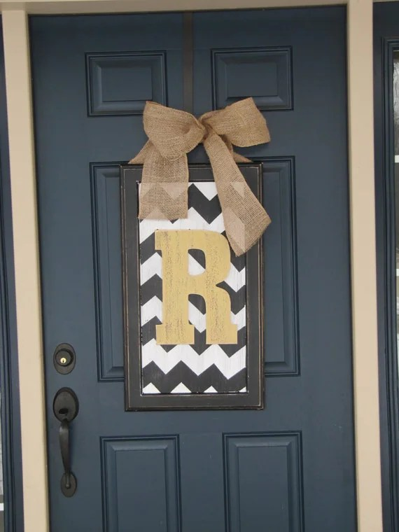 Spring door decor, large chevron wood letter for front door