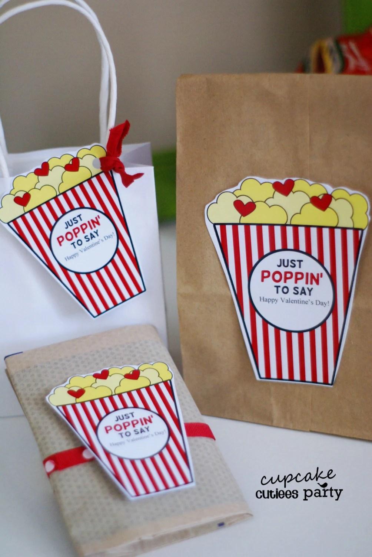 Popcorn Valentine Love Cut Outs Kids Class Card DIY Digital