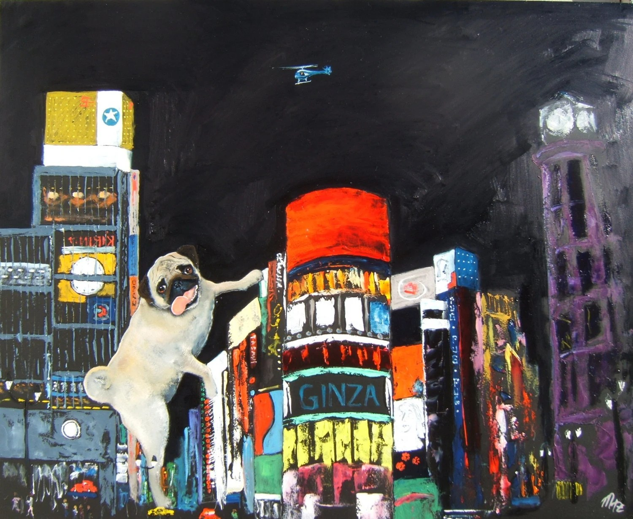 "Pug Art Dog Print / ""PUGZILLA"" / by Original Mike Holzer"