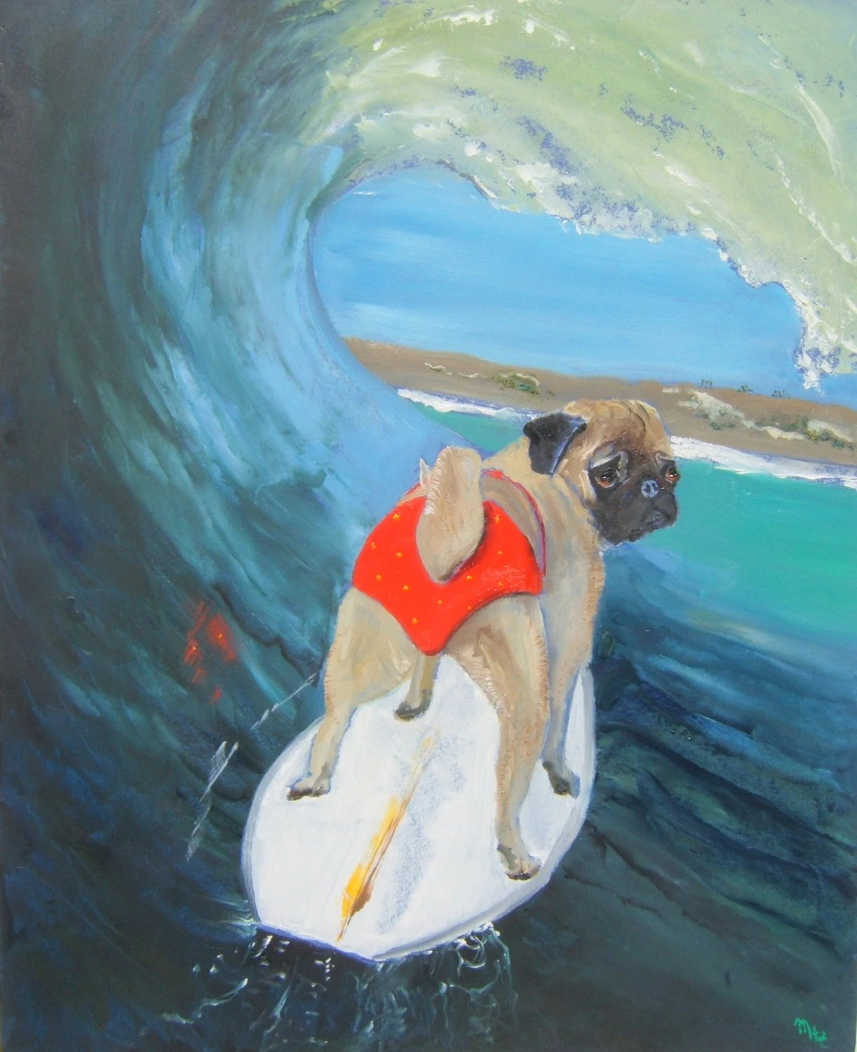 "11""x14"" / Two for 1 / Pug Dog Art Print / ""Green Room"" /by Original Mike Holzer"