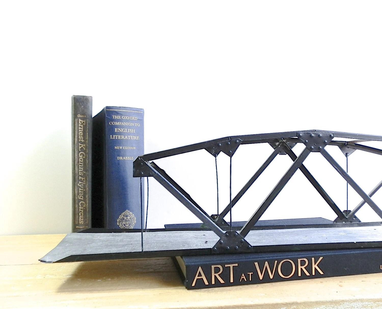 Vintage Architectural Piece - Black Metal - Trestle Bridge - Tin Toy Train Set - Vintage Railroad Bridge - DairyFarmAntiques