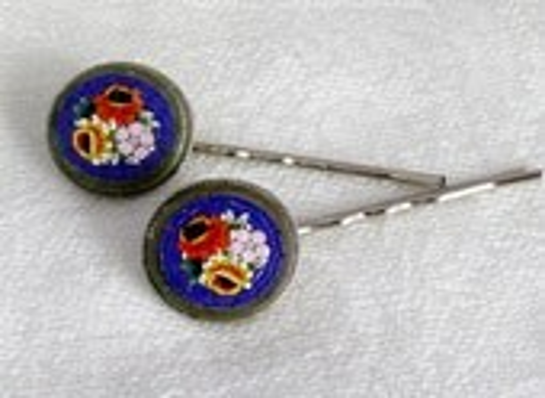 Decorative Italy 30-40's Micro Mosaic Bobby Pins - WillowBloom