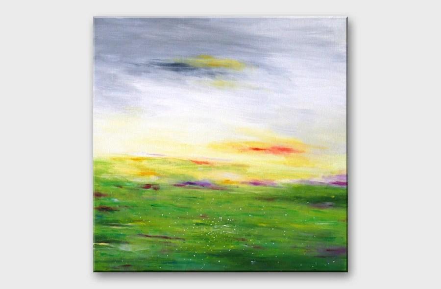 Abstract landscape painting on canvas Modern Minimalist 16x16 art Pastel colors Green Gray Wall decoration Contemporary art Fine square art - artbyasta