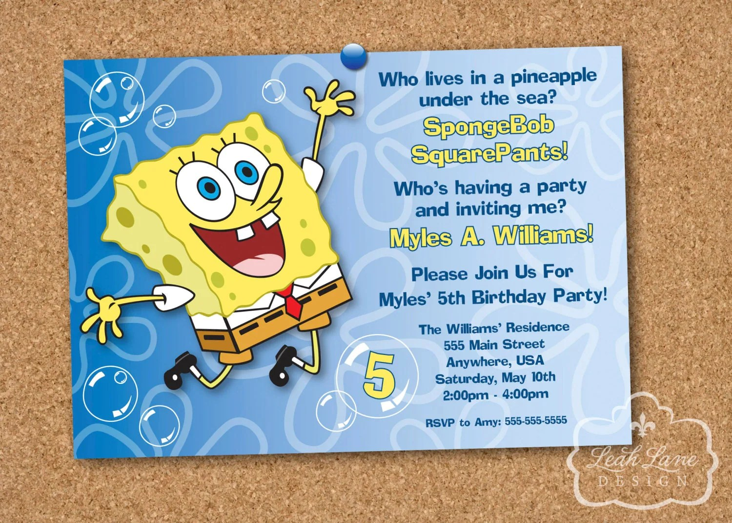 Spongebob Squarepants Birthday Party Printable By Leahlanedesign
