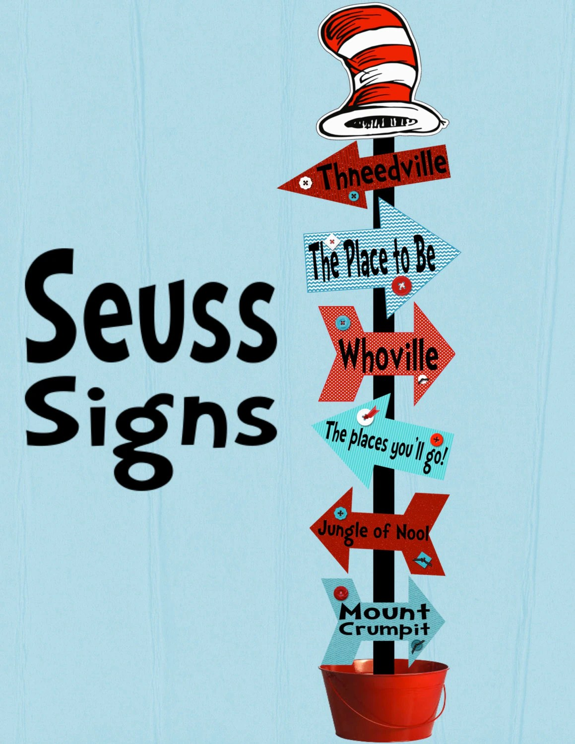 Seuss Signs Arrows Decoration Printable By Cherrybonbondesigns
