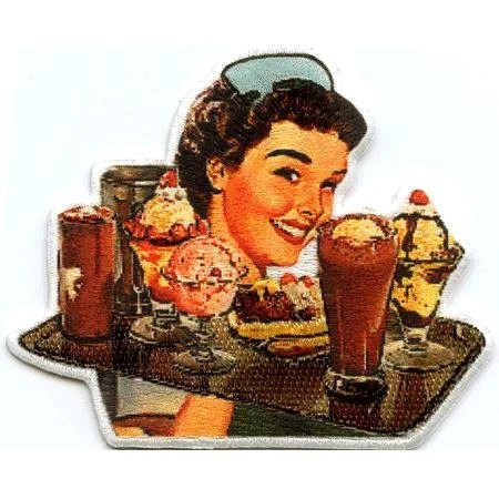 50s Retro Diner Waitress Embroidered Patch CD-P3571 - Preegle