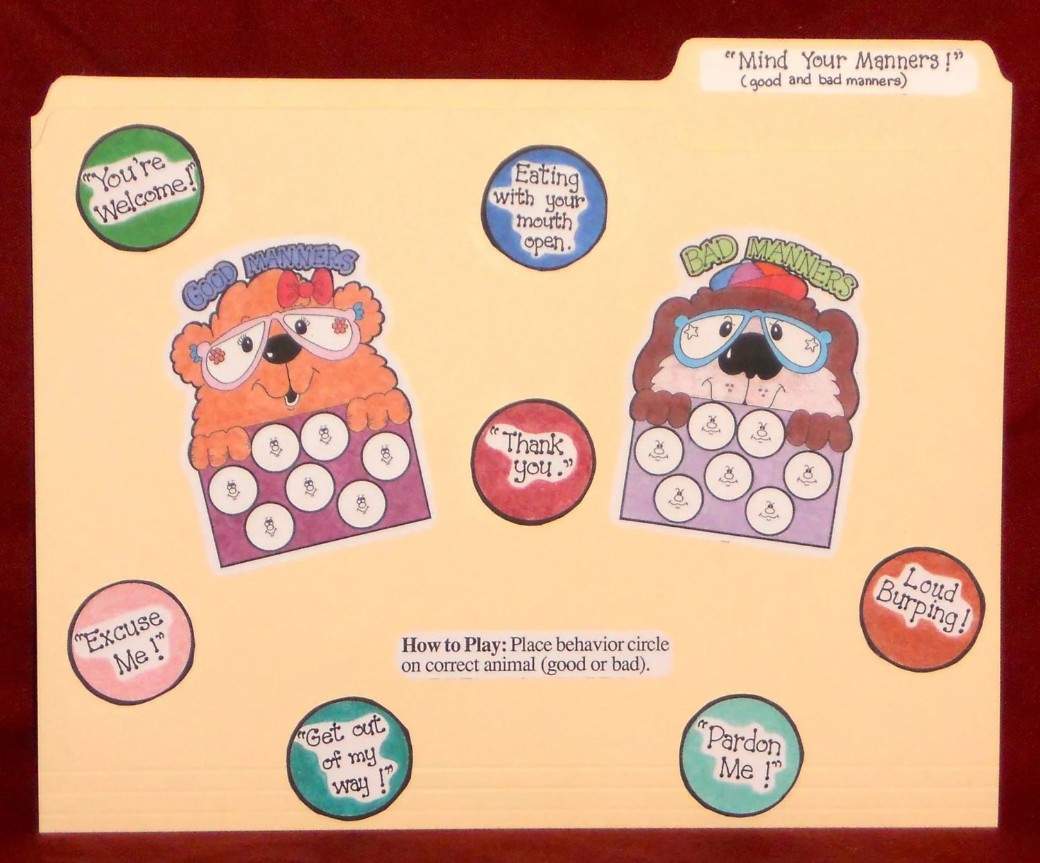 Mind Your Manners Manners File Folder Game Ready To
