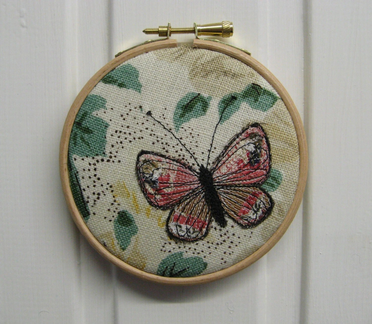 butterfly embroidery hoop textile art cottage chic