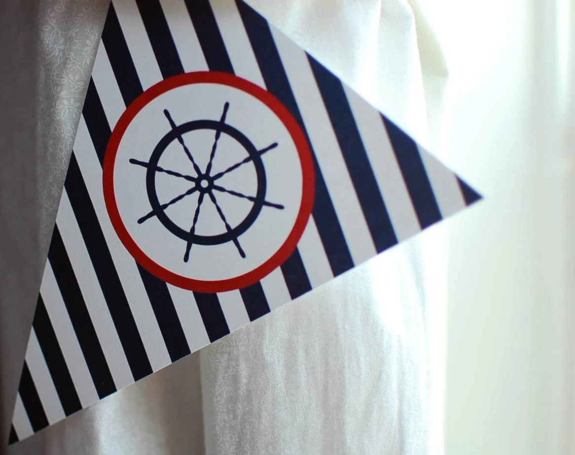 Nautical Birthday Banner Instant Download Printable Happy