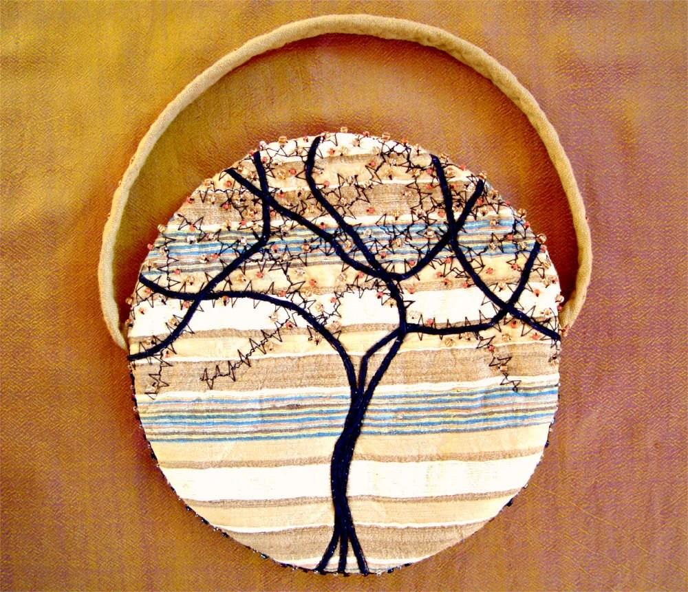SPRING TREE, Small Purse, Silk Clutch, Beaded Handbag, Uncommon Purse