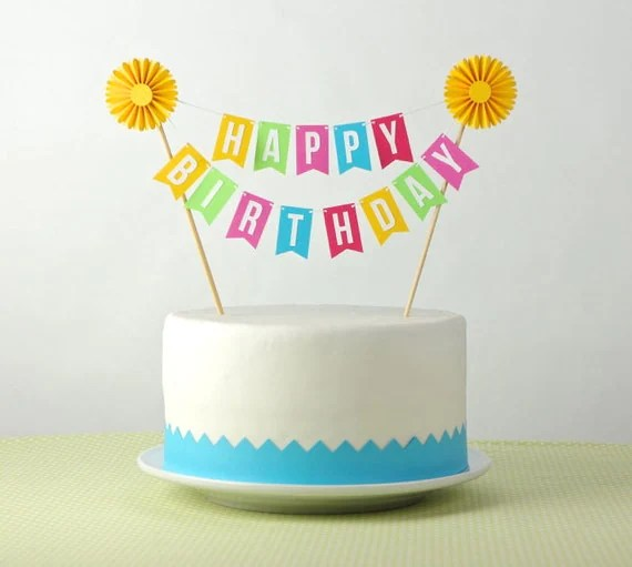 cake bunting cake topper happy birthday with by especiallypaper